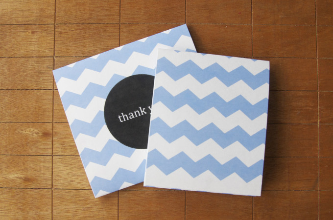 free thank you card design blue chevron print front and back