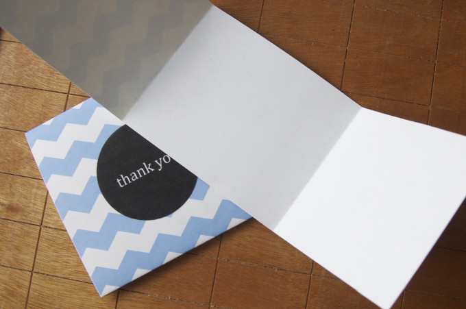 free thank you card design chevron print fold out