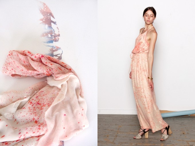 Shabd NYC dyed scarf and maxi dress pink peach spring summer 2012
