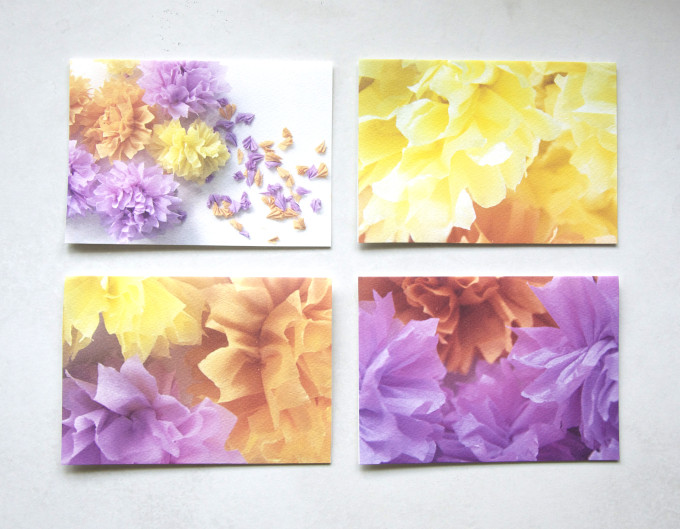 set of four pretty crepe flower greeting gift cards laid out
