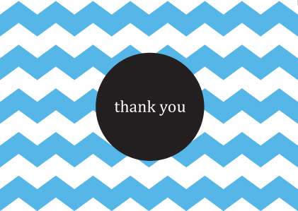 free thank you card blue chevron printable