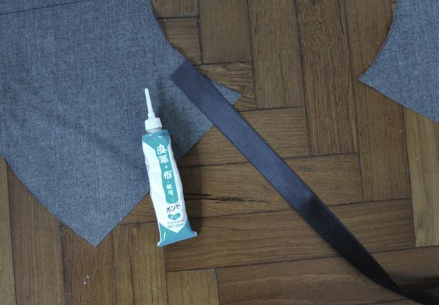 glue ribbon - how to make leather peplum belt tutorial