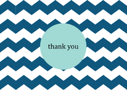 free printable thank you card turquoise chevron