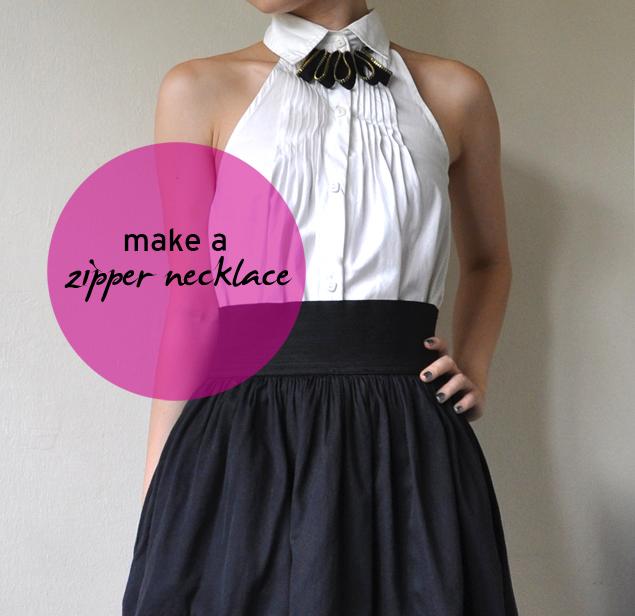 zipper necklace diy tutorial
