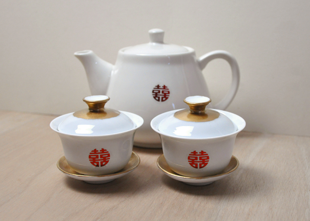 Stick On Double Hiness Stickers For A Diy Chinese Wedding Tea Cup And Pot Set